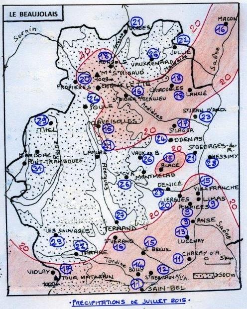 Carte pluvio du Beaujolais  JUILLET     2015 002
